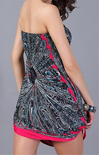 Rose s Dress Wrapped Beach Tribal Pleated Women Tube Cromoncent Strapless Printed 7POpq