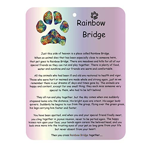 RedSum Rainbow Bridge Pet Memorial Card, Pet Memorial Gifts Dog Memorial Poem Pet Saying Bereavement Keepsake Gift - Pet Mourning Card Sympathy Card ()