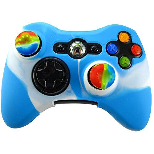 Pandaren Soft Silicone Skin for Xbox 360 Controller Set(Whiteblue Skin X 1 + Thumb Grip X