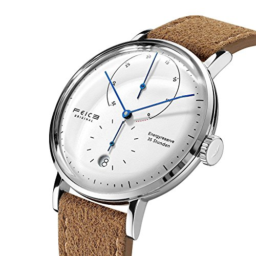 FEICE Automatic Watches for Men Minimalist Bauhaus Watch Men's Mechanical Wristwatch with Domed Mirror Calendar Stainless Steel Leather Band #FM202 (Brown)