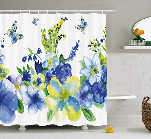 Ambesonne Yellow and Blue Shower Curtain, Spring Flower Watercolor Flourishing Vibrant Blooms Artsy Design, Fabric Bathroom Decor Set with Hooks, 75 Inches Long, Royal Blue