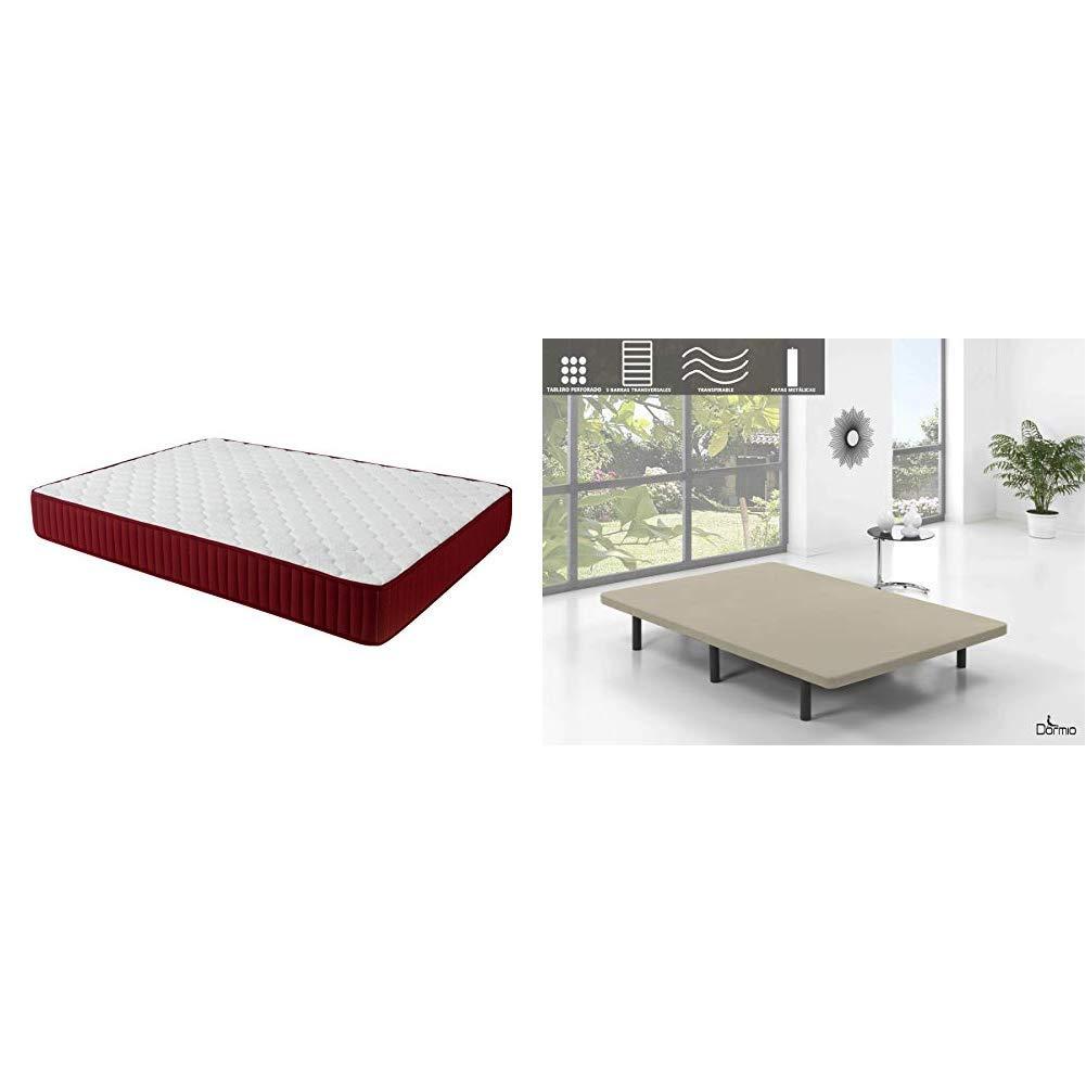 Set de descanso Dormio - base tapizada de 5 barras transversales + colchón Dormio Zafiro altura de 21 cm, 150x190: Amazon.es: Hogar