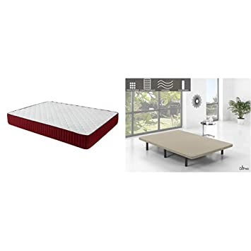 Set de descanso Dormio - base tapizada de 5 barras transversales + colchón Dormio Zafiro altura de 21 cm, 90 x 200: Amazon.es: Hogar
