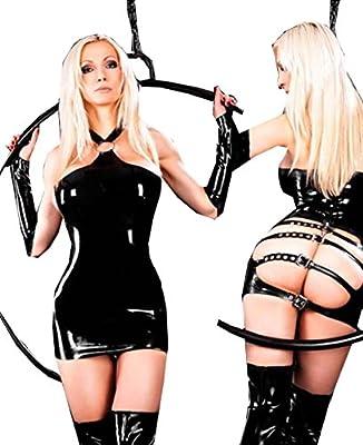 Fashion Queen Women's Sexy Halter Fancy Mini Dress Faux Leather Butt Lifter Costume