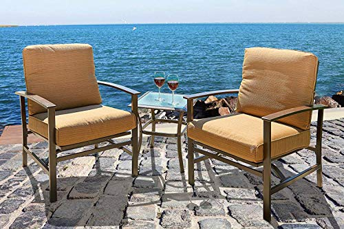 Incbruce Patio 3pc Set, Outdoor All-Weather Furniture Set, Bistro Conversation Set with Two Cushioned Chairs & Glass Coffee Table, Soft Seat Sturdy Metal Frame