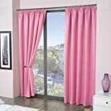 Louisiana Blackout Lined Tape Top Pencil Pleat Curtains, Pink (66 x 54in (168 x 137cm))