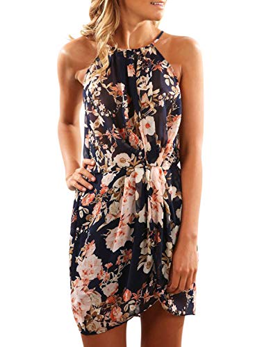 Halter Draped Mini - Sidefeel Women Floral Print Halter Draped Sleeveless Beach Mini Dress Small Black