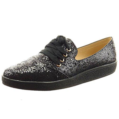 Sopily - Chaussure Mode Baskets Cheville femmes Brillant pailettes Talon bloc 2 CM - Noir