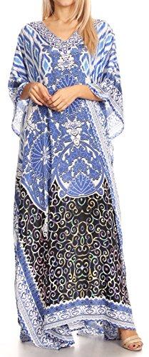 Sakkas Anahi Flowy Design V Neck Langes Kaftan Kleid / Cover Mit Rhinestone 17185-Schwarz / Weiß / Blau