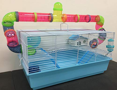 New Large Habitat Hamster Rodent Gerbil Mouse Mice Cage Long Crossing Tube With 5.5' Deep Tray