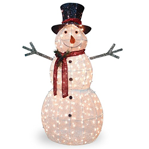 National Tree 60 Inch Crystal Snowman with 300 Mini Clear...