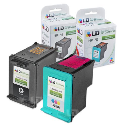 - LD Remanufactured Ink Cartridge Replacements for HP 74 & HP 75 (1 Black, 1 Color, 2-Pack)