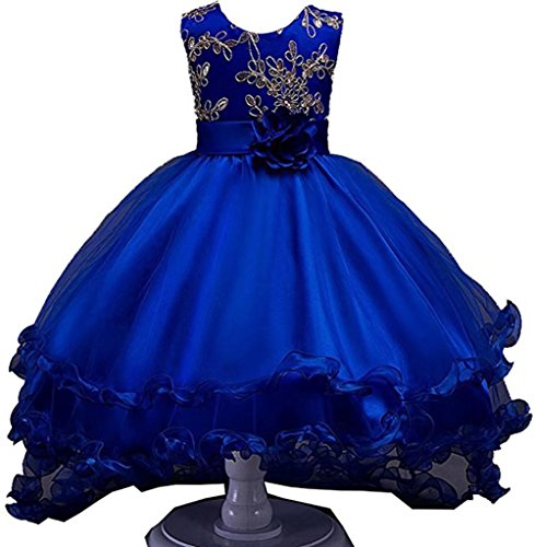 Romantic Dress Ruffle (ZaH Girl Dress Kids Ruffles Lace Party Wedding Dresses(Blue,3-4Y))