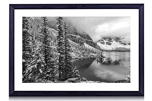 Moraine Lake, Banff National Park, Canada - Art Print Black Wood Framed Wall Art Picture For Home Decoration - Black and White - 20