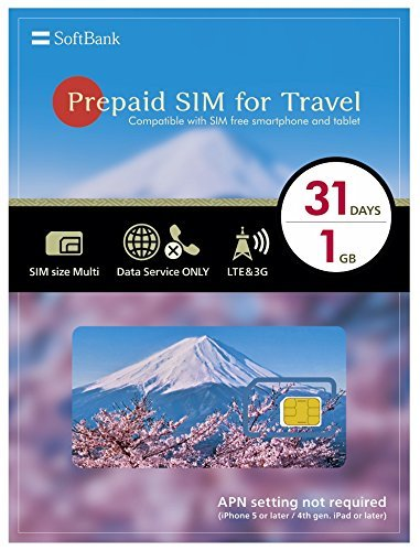 SoftBank Prepaid SIM for Travel Japan SIM Data 1GB 4G LTE SIM size Multi 31Days by Softbank
