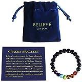 Believe London Chakra Bracelet with Jewelry Bag & Meaning Card | Adjustable Bracelet to Fit Any Wrist | 7 Chakra Natural Stone | Healing Reiki Yoga (7 Inch Bracelet)