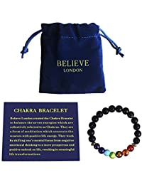 Chakra Bracelet With Jewelry Bag & Meaning Card | Adjustable Bracelet To Fit Any Wrist 7 Chakra Natural Stone Healing Reiki Yoga