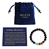 #5: Believe London Chakra Bracelet With Jewelry Bag & Meaning Card | Adjustable Bracelet To Fit Any Wrist 7 Chakra Natural Stone Healing Reiki Yoga