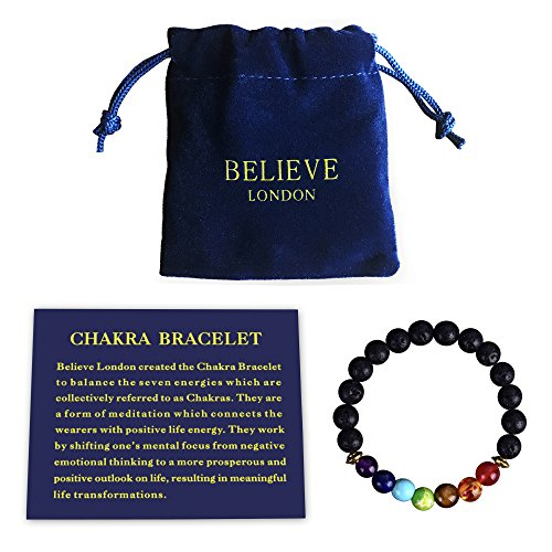 Believe London Chakra Bracelet with Jewelry Bag & Meaning Card | Adjustable Bracelet to Fit Any Wrist | 7 Chakra Natural Stone | Healing Reiki Yoga (6.5 Inch Bracelet) ()