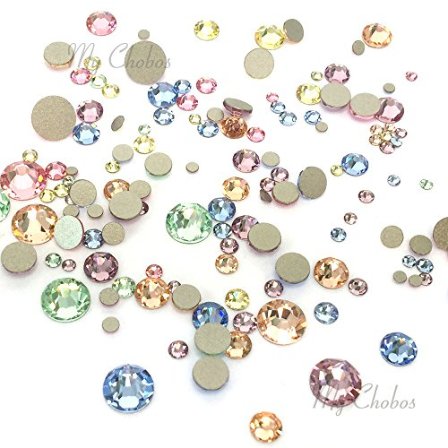 (BABY Colors mixed with Swarovski 2058 Xilion / 2088 Xirius Rose flatbacks sizes ss5, ss7, ss9, ss12, ss16, ss20, ss30 No-Hotfix rhinestones nail art 144 pcs (1 gross) *FREE Shipping from Mychobos (Crystal-Wholesale)*)