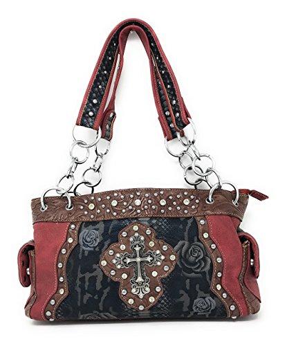 daim Premium main pour en Cross en couleurs en strass Western à et Red Sac femme cuir multiples vEqTAxw