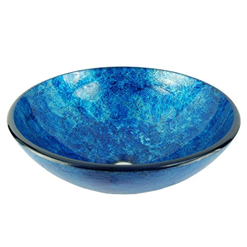Fontaine Stratosphere Blue Crackle Foil Leaf Glass Vessel Sink Fontaine Glass Vessel Sink