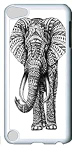 Fashion Customized Case for iPod Touch 5 White Plastic Case Back Cover for iPod Touch 5th with Ornate Elephant