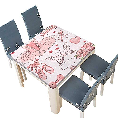 PINAFORE Printed Fabric Tablecloth Decor Collection Set Princess Ballerina Accessories Classic Costume Shoes Tiara Roses I Washable Polyester 41 x 41 INCH (Elastic Edge)