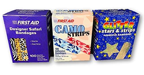 Children's Assorted Bandages - Glitter Stars & Stripes, Camo Strips, Designer Safari Bandages - 300 Bandages