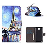 MOONCASE Huawei Y6 Pro Case, [Eiffel Tower] Relief Flip Pu Leather Built-in Card Slots Wallet Folio Kickstand Case Cover for Huawei Y6 Pro