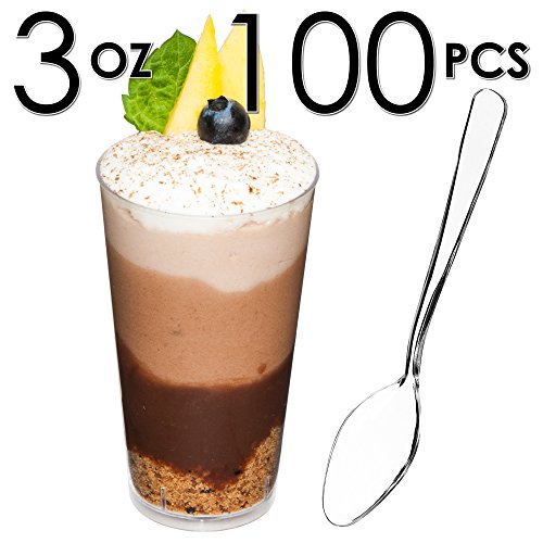 Chocolate Mousse Glass (DLux Mini Shooter Dessert Cups, Appetizer Bowls & Spoons & Recipe e-Book [Clear Plastic, 3 oz, Round, 100 Count] Small Catering Supplies, Disposable Tasting Glasses, Parfait Tumblers, Shooters)