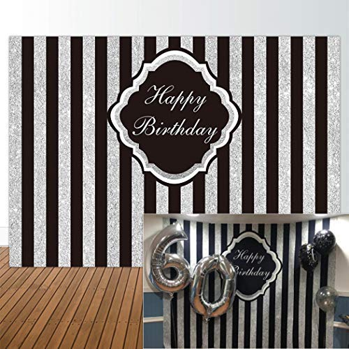 (Allenjoy 7x5ft Black and Silver Stripe Backdrop for Adult Children Woman Happy 1st First Birthday Sweet 16 Party Glitter Wall Decor Decorations Photography Pictures Photo Studio Booth Shoot Background)