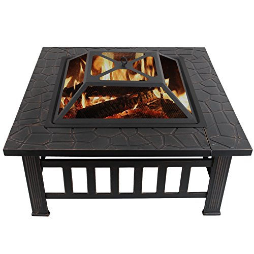 KUPPET 32″ Multi-Purpose Outdoor Square Metal Fire Pit Heater Backyard Patio Deck Fireplace, W/Waterproof Dust Cover and Log Poker, Include Instruction, Stylish Black