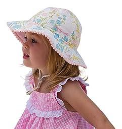 Indiana Girls Sun Hat Vintage Bucket Beach Hat-Reversible Cotton UPF50+ Sun Protection 0-12 Months (44cm) (Lemon)
