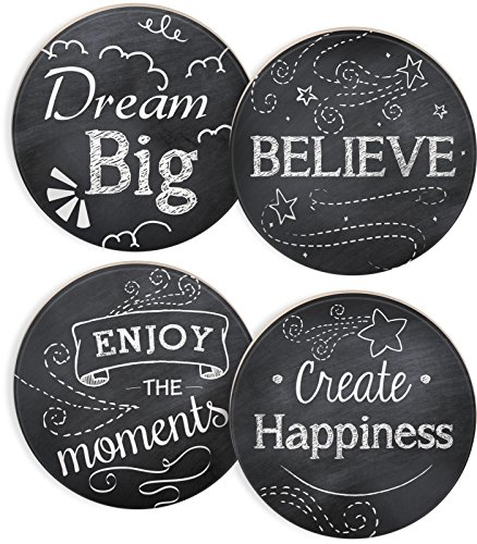 "Angelstar 13422 Chalkboard Round 4 Piece Coaster Set, 4"", Multicolor"