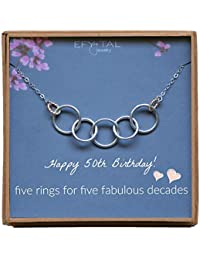 Happy 50th Birthday Gifts for Women Necklace, Sterling Silver 5 Rings Five Decades Necklaces Gift Ideas