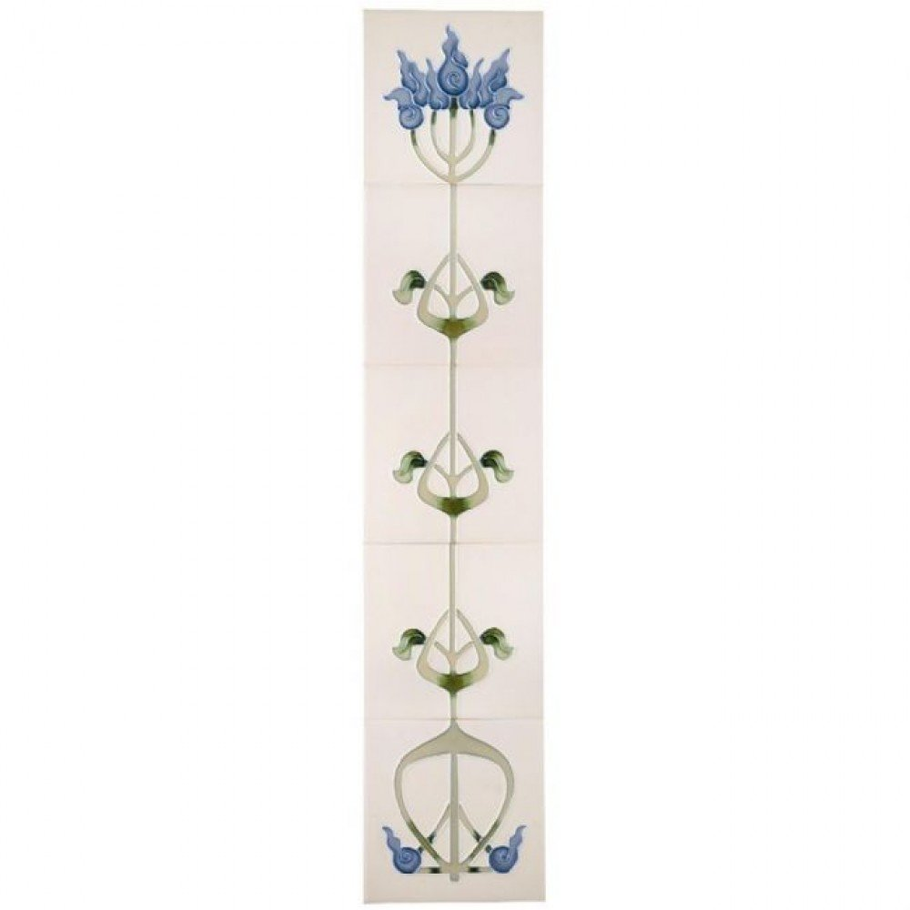 Castec Liberty Tube Lined Victorian Fireplace Tiles - Ivory Blue