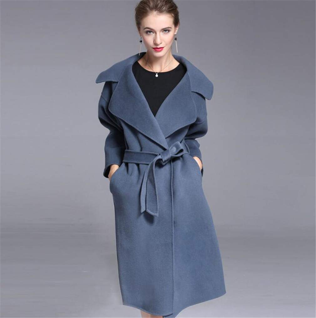 Women's Cashmere Coat Jacket, Europe and America High End Winter Thicken Medium and Long Section Cashmere Wool Coat