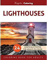Lighthouses: Grayscale Photo Coloring Book for Adults