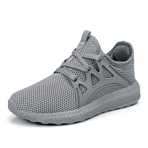 domirica Kids Sneakers Mesh Breathable Athletic Running Shoes Grey ()