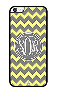 iZERCASE Monogram Personalized Yellow And Gray Chevron Pattern iPhone 5C Case - Fits iPhone 5C T-Mobile, AT&T, Sprint, Verizon and International (Black)