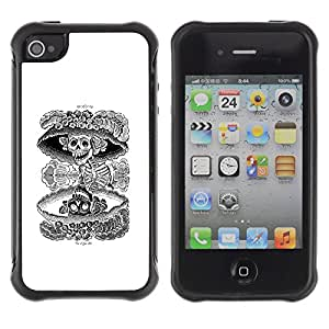 Be-Star único patrón Impacto Shock - Absorción y Anti-Arañazos Funda Carcasa Case Bumper Para Apple iPhone 4 / iPhone 4S ( Nuclear Skull Death Black White Rock )