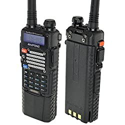 Baofeng Black Uv-5r V2+ W 3800mah Extended Battery (Usa Warranty) Dual-band 136-174400-480 Mhz Fm Ham Two-way Radio, Improved Stronger Case, Enhanced Features