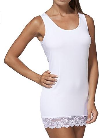 JADEA - Camiseta de Tirantes para Mujer, Hombros Anchos, con Encaje de algodón elástico, Art. 4328: Amazon.es: Ropa y accesorios