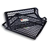 Click Home Design Letter Tray Baskets - Set of 2 - 14 x 10.5 x 2.25 Inches (Black)