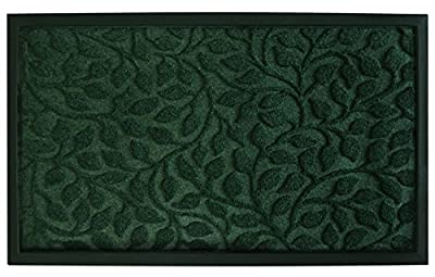 "Outdoor Shoes Scraper Exterior Porch Front Door Mat Non Slip Doormat for Patio Garage Entrance Way Heavy Duty Recycled Rubber Green Rug Carpet Christmas Home Decor 18"" x 30"""