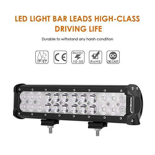 Auxbeam LED Light Bar 12″ 72W Driving Light 24pcs 3W CREE Light Combo Beam Waterproof for Off-road Truck Car Military Mining Heavy Equipment