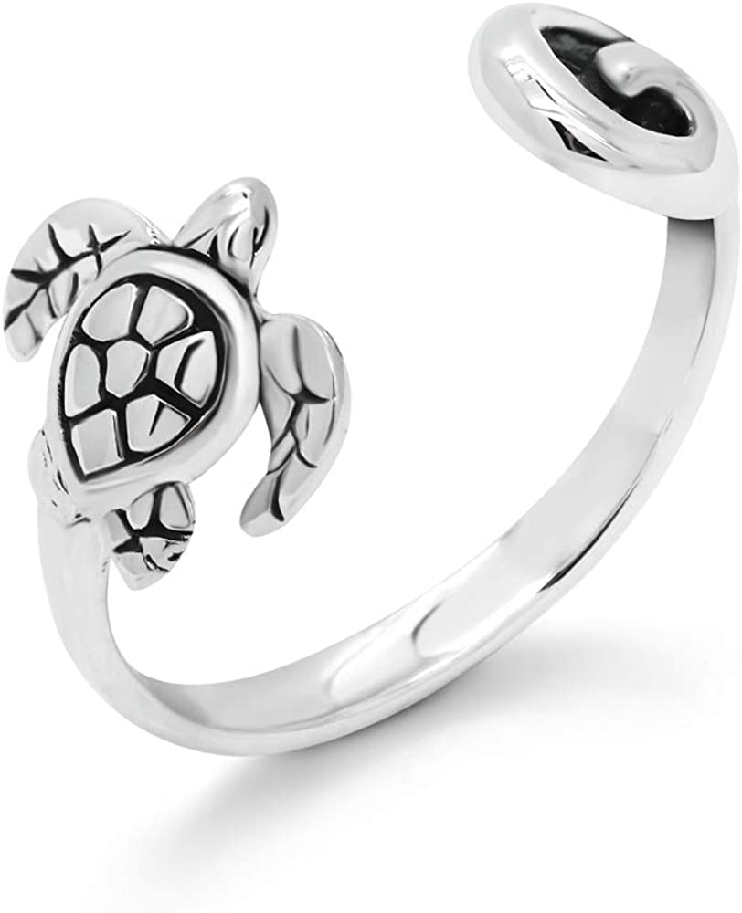 925 Sterling Silver Adjustable Sea Turtle and Wave Open Ring