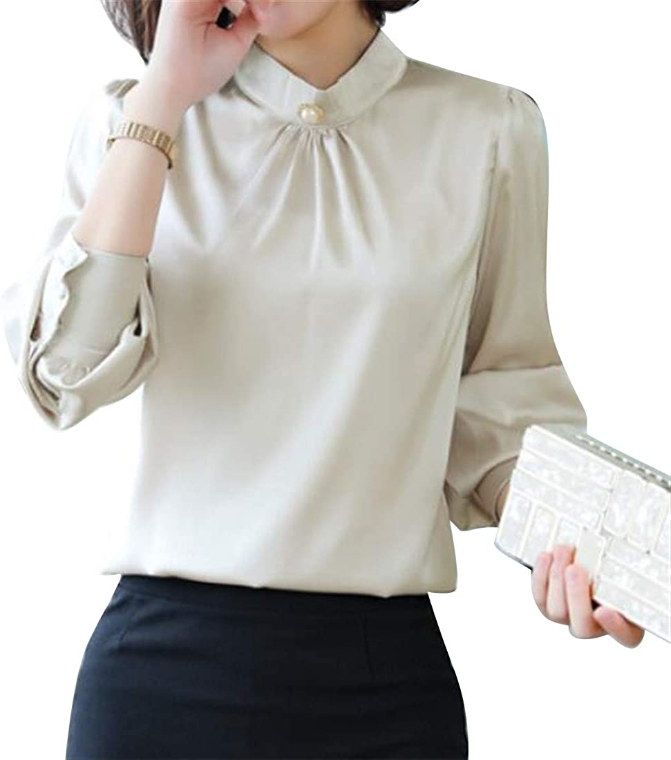 BU2H Women Pleated OL Long Sleeve Slim Fit Fashion Top Blouse T-Shirt