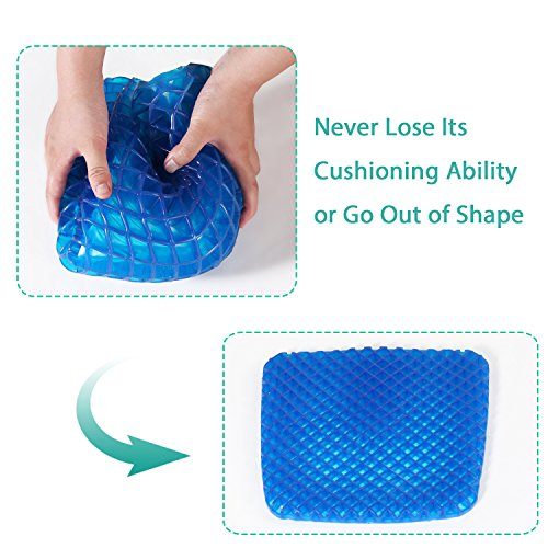 Turquoize Gel Seat Cushion Pain Relief Gel Pad Seat Cushion Honeycomb Design Pressure Absorbs Sitter Elastic Support Chair Pad Office, Dinner, Driving, Wheelchair & Mobility Scooter Cushions by Turquoize (Image #3)